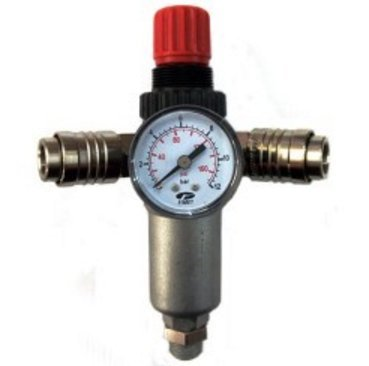 Regulador de presión Fiac 950/2 con filtro y 2 conexiones manómetro rápida para compresores