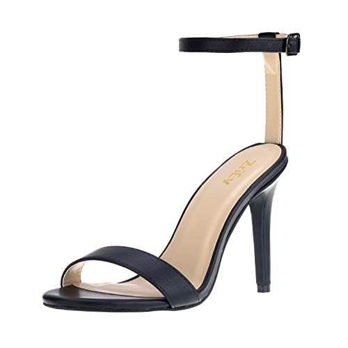 (ZriEy Women Fashion Sexy Open Toe Ankle Straps High Heel Sandals Wedding Party Shoes Black Size 6)