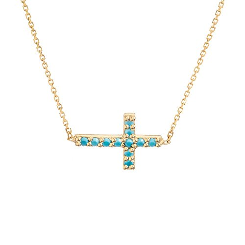 14k Yellow Gold Adjustable Side-ways Nano Simulated Turquoise Mini Cross Necklace - 18 Inch