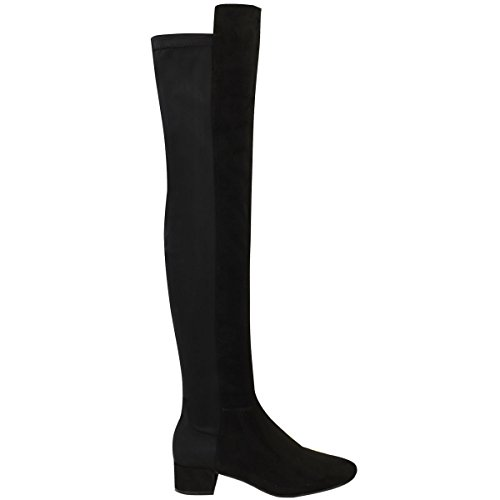 Womens Faux Size Boots High Over Flat Calf Black Suede Thigh The Thirsty Riding Fashion Stretch Knee qn5Tx6STBF