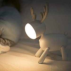 LED Kids Night Light Cute Reindeer Elk Baby Nursery Lamp-USB Rechargeable, Color Temperature and Brightness Adjustable, White and Warm can be Switched, Timing Function, Fabulous Ideal Gift