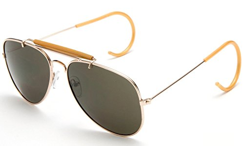 Vintage Metal Brow Bar Aviator Outdoorsman Cable Temple Sunglasses #Gold ()