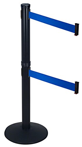 Visiontron 301D-BA-BL Dual Line Post w/ 10' Retracta-Belt, Black with Blue ()