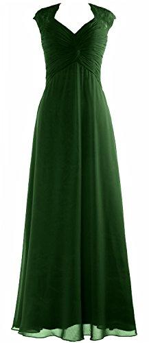 MACloth Women Cap Sleeve Lace Long Prom Dress Chiffon Wedding Party Formal Gown Dunkelgrun EUIZ8022md