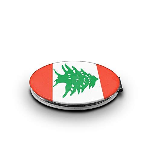 LALABULU Makeup Mirror Lebanon Flag Mini Pocket Mirror -