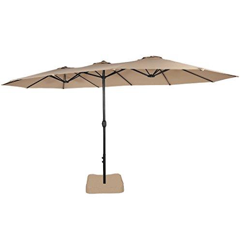 Market Umbrella Base (Iwicker 15 Ft Double-Sided Patio Umbrella Outdoor Market Umbrella with Crank, Umbrella Base Included (Beige))