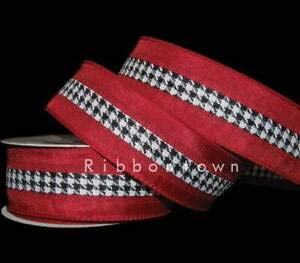 (10 Yards Red Black White Houndstooth Alabama Wired Ribbon 1 1/2
