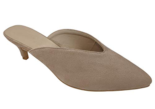 Best Special Great Suede Leather Slide Short Heel Mule Pump Shoe for Women Big Girls (Taupe Size 5)