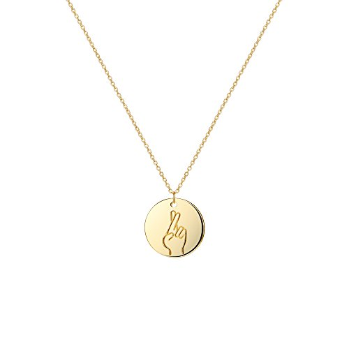 OSIANA Gesture Necklace 14K Gold Plated Circle Pendant Personalized Initial Choker for Women(Style:Finger Crossed)