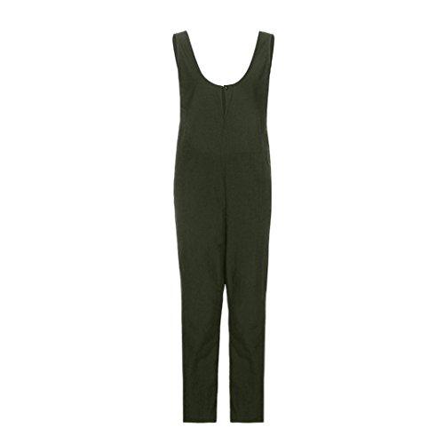 Solide Manches Dungarees Pantalon Lache Vert sans Long Coton Pantalon Jumpsuit Femmes zahuihuiM Combishort RZwXB