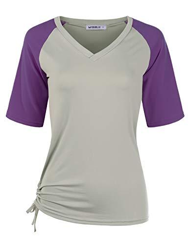 CLOVERY Women's Raglan Casual Basic Top Short Sleeve V-Neck Shirt GREYPURPLE 3X Plus Size