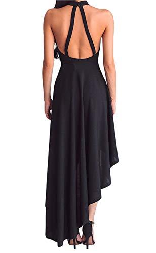 Lrud Women's Halterneck Sexy Sheer Mesh Decolletage Evening Gowns Off Shoulder Sleeveless Hi-low Hemline Party Club Dress Black XL by Lrud (Image #1)