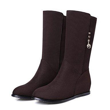 RTRY Zapatos De Mujer Suede Primavera Otoño Comfort Novedad Moda Botas Botas Planas Botas De Tacón Puntiagudo Mid-Calf Toe Remache Para Oficina &Amp; Vestido De Carrera US8 / EU39 / UK6 / CN39