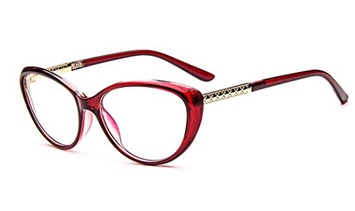 D.King Women Fashion Cat Eyeglasses Frames Clear Lens 56mm Red