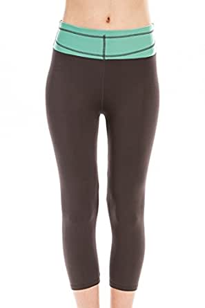 Women's 2-Tone Activewear Capri Leggings Banded Waist (Mint/Charcoal)
