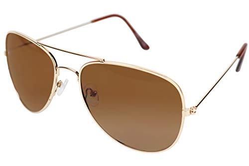 Classic Aviator Sunglasses Metal Frame Colored Lens Glasses Ombre Brown Gradient