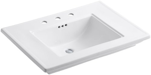 Kohler K-2269-8-0 Fireclay Ceramic Pedestal Rectangular Bathroom Sink, 31.88 x 10.5 x 24.25 inches, White - Fireclay Lavatory Console