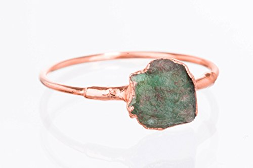 - Size 8 Raw Emerald Ring, Rose Gold, May Birthstone Jewelry