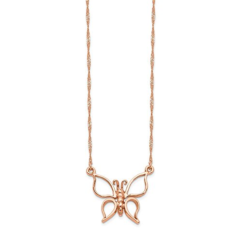 14K Rose Gold Polished Butterfly Necklace 17 Inch
