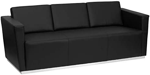 Flash Furniture HERCULES Trinity Series Contemporary Black LeatherSoft Sofa