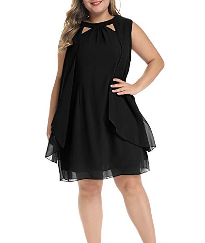Lalagen Womens Summer Chiffon Sleeveless Plus Size Cocktail Party Knee Length Dress Black XL
