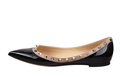 Arc-en-Ciel zapatos de las mujeres del remache del dedo del pie puntiagudo, más pisos de tamaño Negro