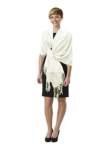 Paskmlna® Beautiful Solid Colors Luxurious Pashmina Scarf Perfect Party Favor (3off White)