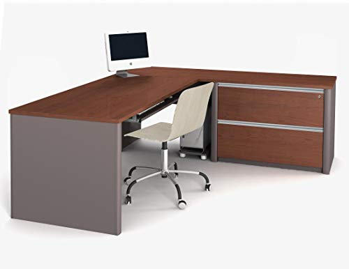 Bestar Connexion L-Shaped Workstation with Two Drawers, Bordeaux/Slate (Bordeaux 2 Drawer)