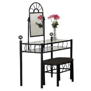 Asia Direct Black Metal Bedroom Vanity Glass Table & Bench Set