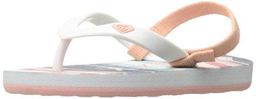 Roxy Girls' TW Tahiti Flip-Flop, Stripe Barely Pink, 10 M US Toddler