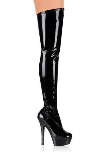 Pleaser Women's Kiss-3000/B/M Boot,Black Patent,14 M