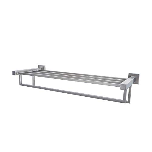 KES Stainless Steel Bath Towel Rack Bathroom Shelf with Double Towel Bar 24-Inch Storage Organizer Contemporary Hotel Square Style Wall Mount Brushed Finish, A21012-2 by Kes