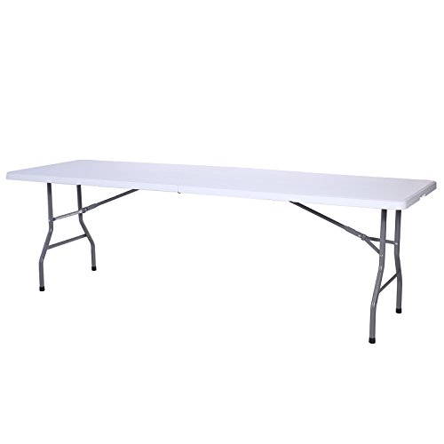 Uenjoy 8′ Portable Folding Table Indoor Outdoor Party Picnic Camping Dining White
