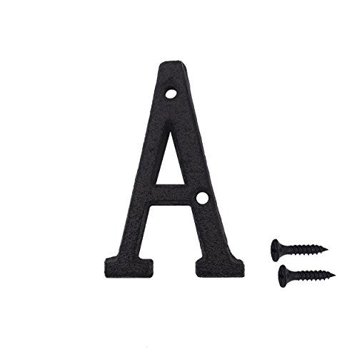 (3 Inch Wrought Iron House Number, Matching Screws Included Black Letter A)