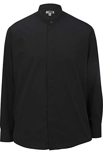 (Edwards Men's Banded Collar Shirt 2XL Black)