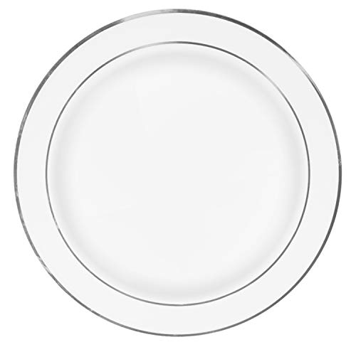 (50 Premium Silver Rim Plastic Plates for Dinner Party or Wedding - 10 Inch White Silver Rimmed Disposable Plastics Plates)