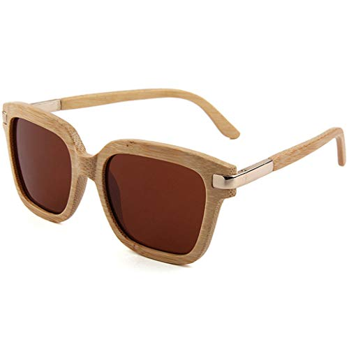 Madera Retro de Conducción Marco Polarizadas Gafas Brown sol de Brown Unisex Color Gafas bambú de de Cuadrado Personalidad Xtq8Eq0wx