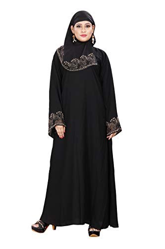 ZEENAT FAB ABAYA BURKHA COME IN FIRDOUS WITH SILVER DAIMOND AND PEARL WORK
