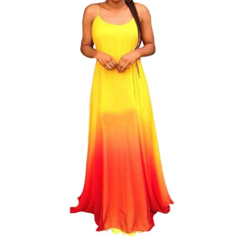 Tantisy ♣↭♣ Women's Lace Ombre Long Prom Dresses Gradient Sleeveless Formal Evening Party Gowns Red