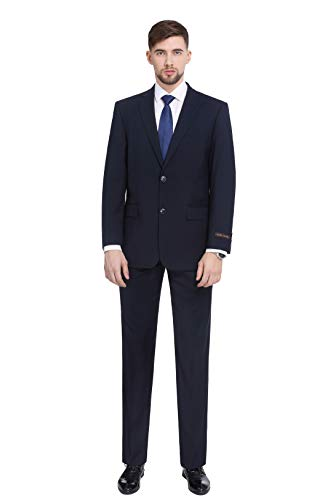 - P&L Men's 2-Piece Classic Fit 2 Button Office Dress Suit Jacket Blazer & Pleated Pants Set, Navy, 38 Long / 32 Waist