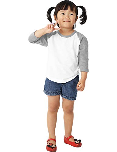 Ma Croix Infants Premium 3/4 Raglan Sleeve Baseball Shirt Jersey Toddler (12 Month, 5bh03_White/Heather Gray)