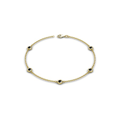 Petite Black Diamond by the Yard 5 Stations Bracelet 0.55 ct tw in 14K Yellow Gold (0.55 Ct Tw Diamond)