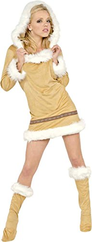 [GTH Women's Eskimo Kisses Hooded Christmas Outfit Fancy Dress Sexy Costume, L (12-14)] (Eskimo Hat Costume)