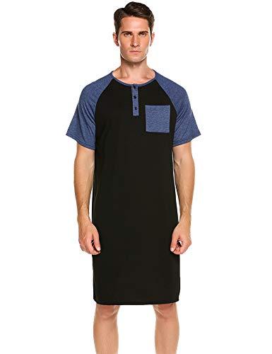Skylin Comfortable Nightgowns Mens Cotton Nightshirt Basics Night Shirt Long Sleep Shirt (Large), Black-6 -