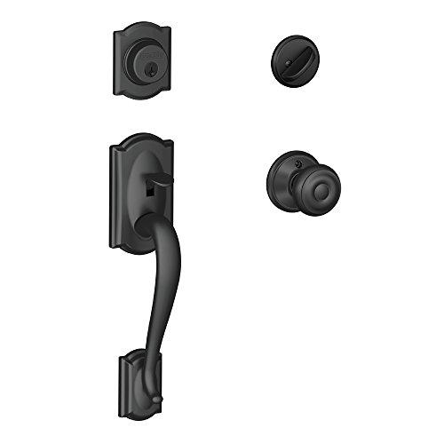 Schlage Lock Company Camelot Single Cylinder Handleset and Georgian Knob, Matte Black (F60 CAM 622 GEO)