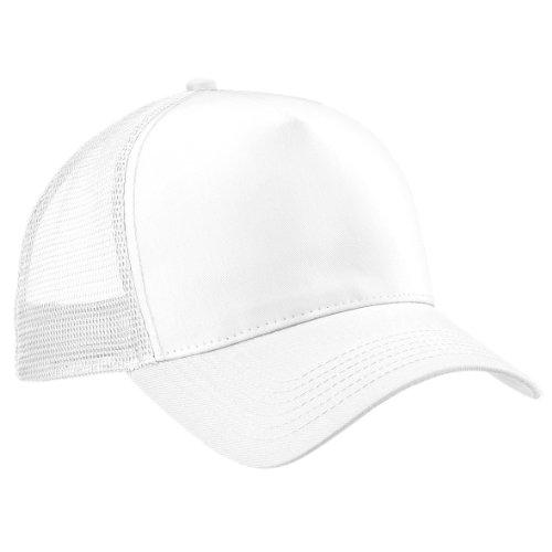 Beechfield - Gorra/Visera hombre/chico Media tejido de abeja transpirable, Blanco/Blanco, White / White
