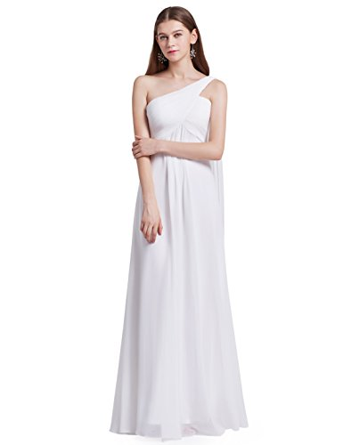 Ever-Pretty Womens One Shoulder Empire Waist Long Prom Dress 6 US White