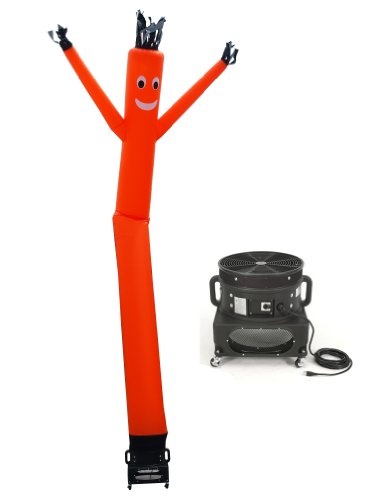 LookOurWay Air Dancers Inflatable Tube Man Complete Set with 1 HP Sky Dancer Blower, 20-Feet, Orange