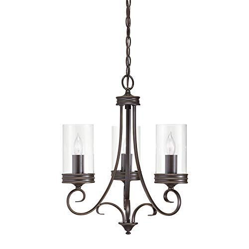 Diana 3-Light Olde Bronze Williamsburg Clear Glass Candle Chandelier