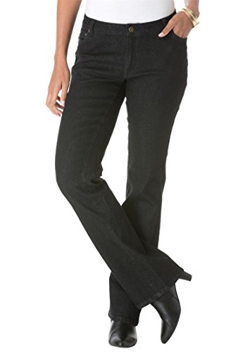 Jessica London Women's Plus Size Petite Bootcut Jeans – 28 P, Black Denim